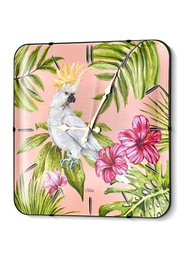 The Mia Duvar Saati - Tropik Parrot 35 Cm  Renkli
